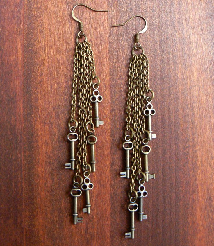 Key Earrings - Steampunk Earrings - Dangle Earrings - Wedding Jewelry