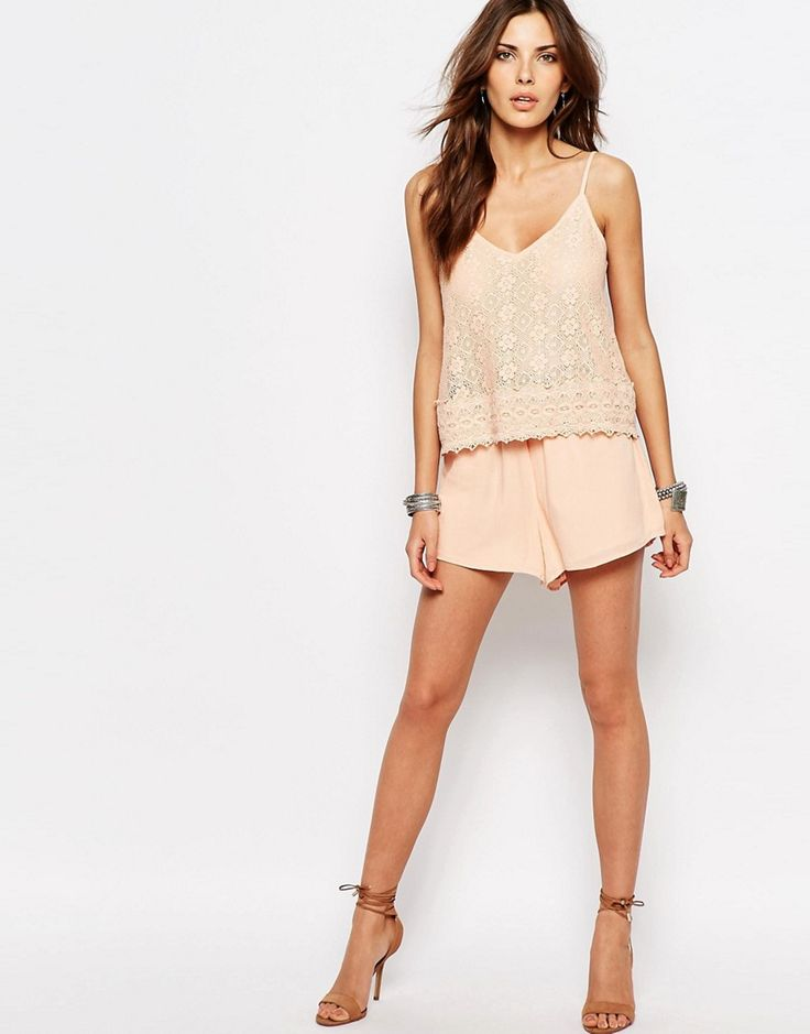 Shop Vila Lace Double Layer Playsuit at ASOS.