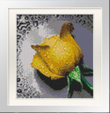 Yellow Rose with Dew Drops. Beading Paint-by-number Cross Stitch Kit. Blue Moon Needlecrafts Diamond Painting DIY Kit. Size: 8.5 By 9.5 Inch...