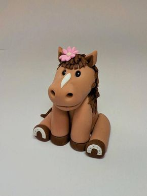 Pony oder Pferd Fondant Cake Topper 4 Zoll Blume optional Nutztiere Land Farbe optional   – ideas