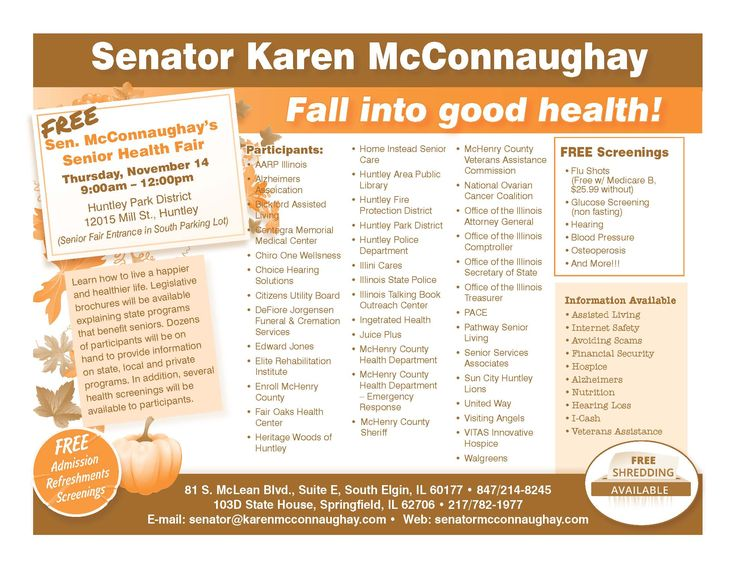 Join Senator Karen McConnaughay for a FREE Senior Health Fair at the Huntley Park District from 9:00am to Noon on Thursday, November 14!