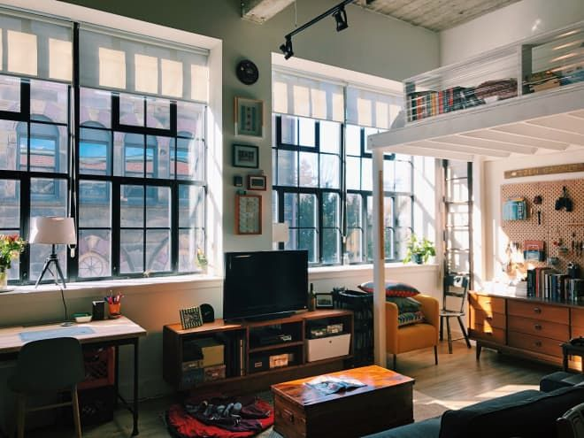 A Small Boston Studio Apartment Has One Of The Best Diy Bedroom Lofts Ever Small Apartments Diy Apartments Bedroom Loft