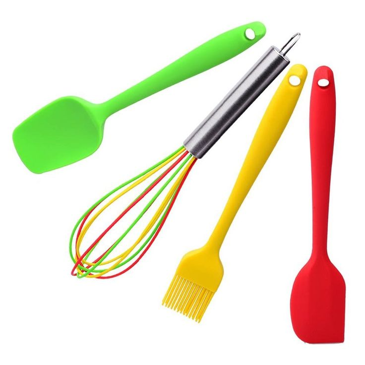 4pcs/set Silicone Kitchen Utensils Set in Hygienic Solid Coating-Mini Spatula, Spoon, Basting Brush Set, Colorful Balloon Whisk