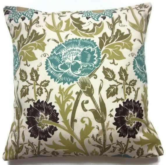 Decorative Living Room Pillow Covers : Two Turquoise Olive Brown Ecru White Pillow Covers Decorative Floral Design Toss Throw Accent ...