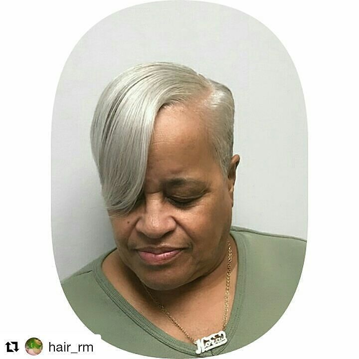 You better slay that beautiful sleek gray Mother!! #GrayHair #GrayHairMagic #BlackWomanGrayHair #MotherYourGrayHairIsBeautiful #Repost @hair_rm Gotta keep Mommy's hair looking good #iloveyou #silver #shorthair #haircut #thecutlife #hair #shorthairstyles #
