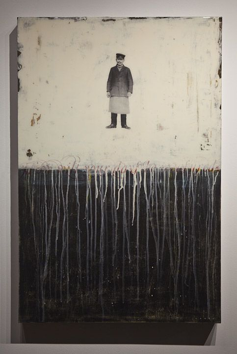 Train Conductor, 2011Mike WeberAmerican, b. St. Louis, MO, USA, 197524 x 36 x 2.5Mixed Media on Panel, Resin CoatedAvailable