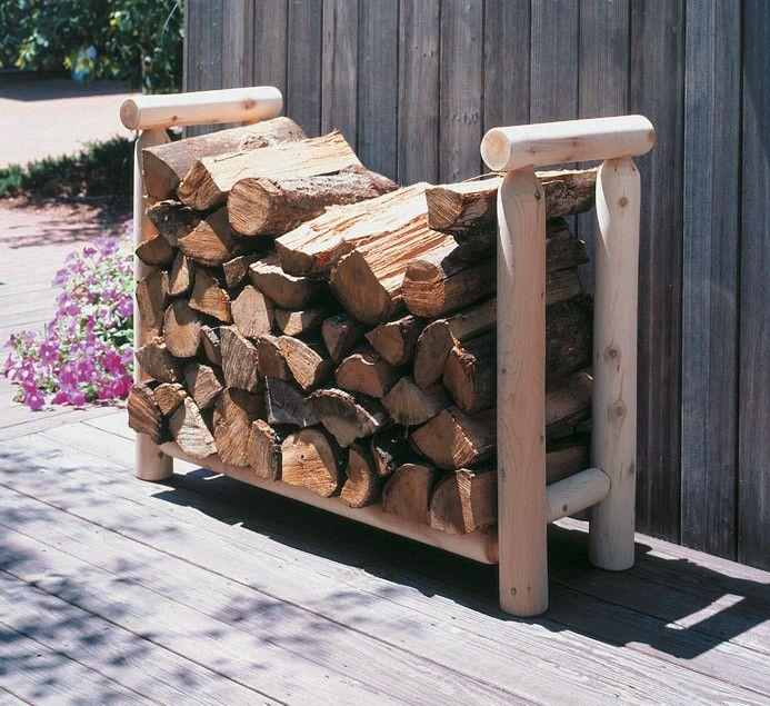Northern White Cedar 3 Log Style Firewood Rack Firewood Rack Outdoor Firewood Rack Log Style