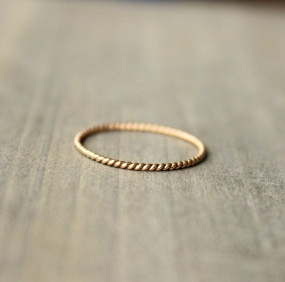 """Gold Wedding Band Anniversary Ring 14 k Gold Stacking Ring Delicate Thin Petite Ring --""""Twined"""""""