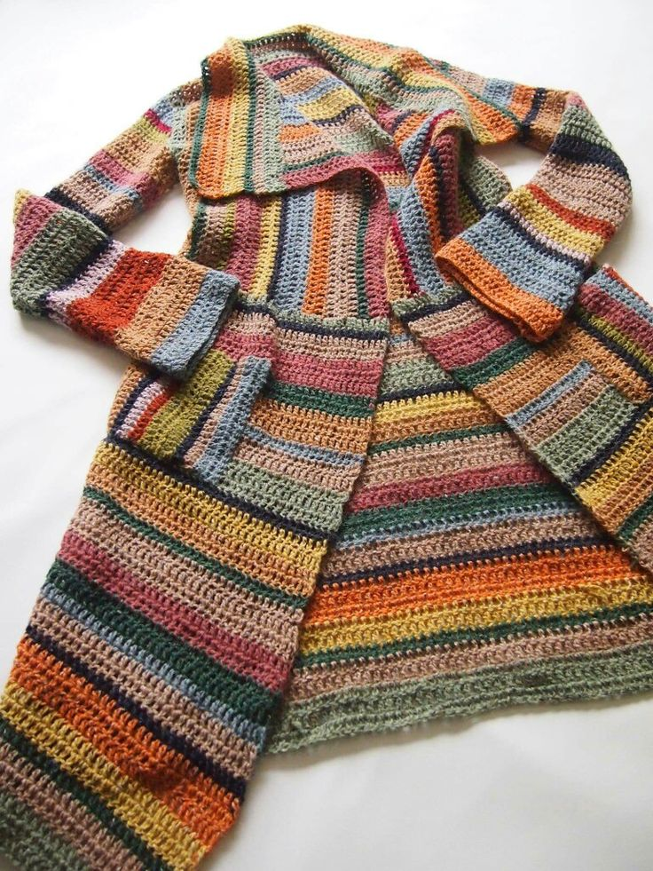 Beautiful crochet coat. Great way to use leftover yarn stash. Love it!