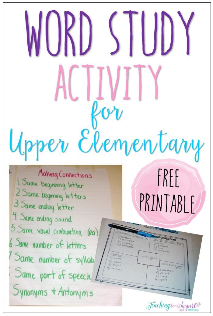 Read this post to read about a word study activity for upper elementary and grab the free printable to have your students complete the activity.