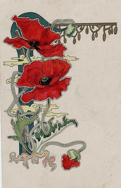 Art nouveau - the main colour used is red with many different lines and shapes used.