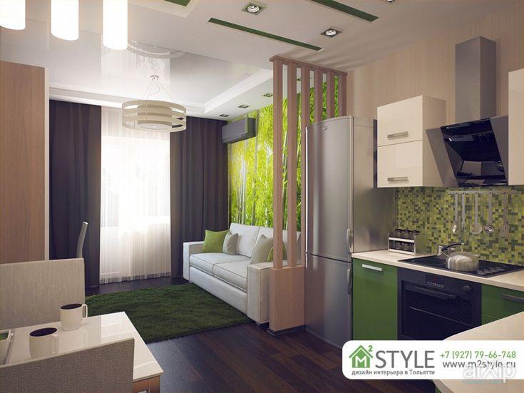 Оптимальная высота потолков для таких помещений — 3 метра, что позволяет разрабатывать  дизайн интерьера квартиры студии