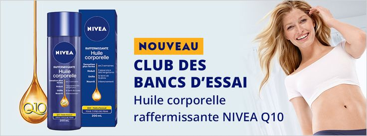 New Product Review Club Offer: NIVEA Q10 Firming Body Oil / Nouvelle Offre du Club des bancs d'essai: Huile corporelle raffermissante NIVEA Q10.  I need a Mommy makeover for my dry skin and love marks ;) Love Nivea! #Q10BodyOil