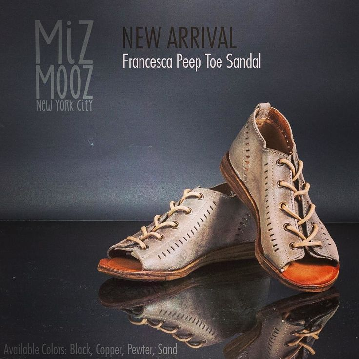 Francesca Peep Toe Sandal - Available Colors: Black Copper Pewter Sand - A stand out versatile peep toe sandal the Miz Mooz Francesca is perfect with jeans skirtsand shorts. Featuring a lace up closure on a distressed leather upper with symmetrical cut out accents leather lining plus footbed and a flexible comfortable outsole.