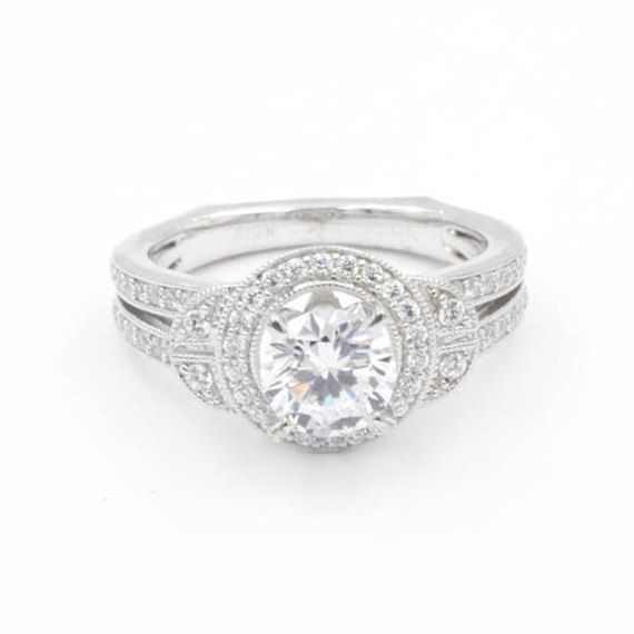 1.0 ct Round Cut CZ Engagement Ring, Size 6.5, 925 Sterling Silver, Art Deco Design with Double Pave Band (771)