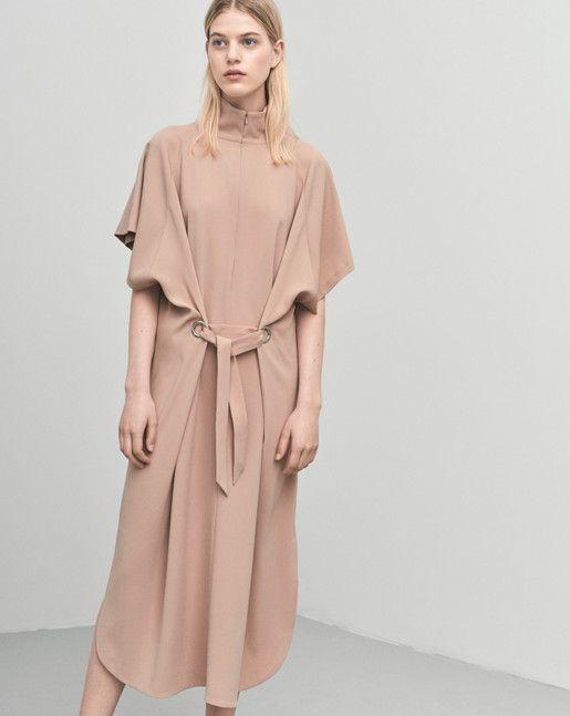 Filippa K ALMONDINE ZIP COLLAR BELT DRESS 82% Triacetate 18% Polyester