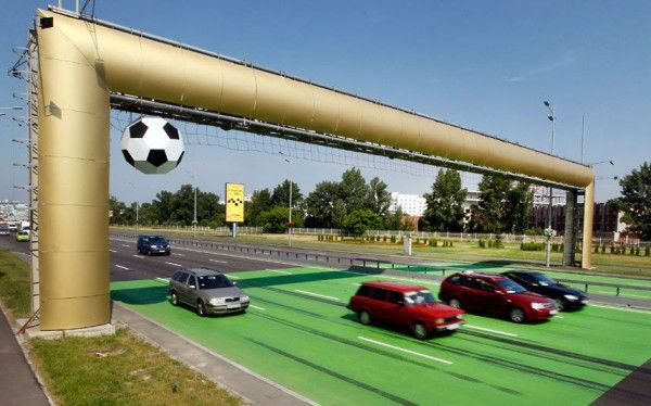 How awesome, a giant replica of a goal is erected over a highway outside Kiev, Ukraine.