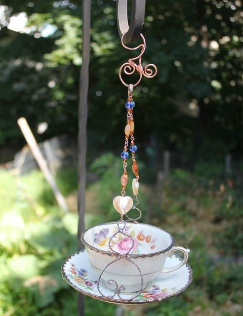 Floral Vintage Tea Cup Bird feeder, Garden art, Upcycle Bird Feeder.