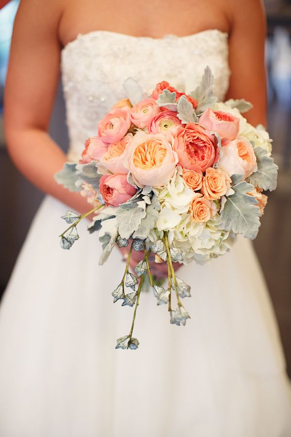 peach and coral wedding bouquet by Bella Bloom Florals - I think these are the flowers you mentioned @Lauren Davison Shaw