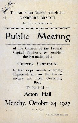 """A 1927 flyer for a public meeting calling for self-government in the """"Federal Capital Territory"""""""