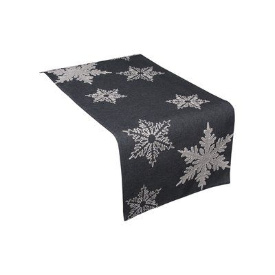 """The Holiday Aisle Snowflake Embroidered Christmas Table Runner Size: 36"""" W x 16"""" L, Color: Gray"""