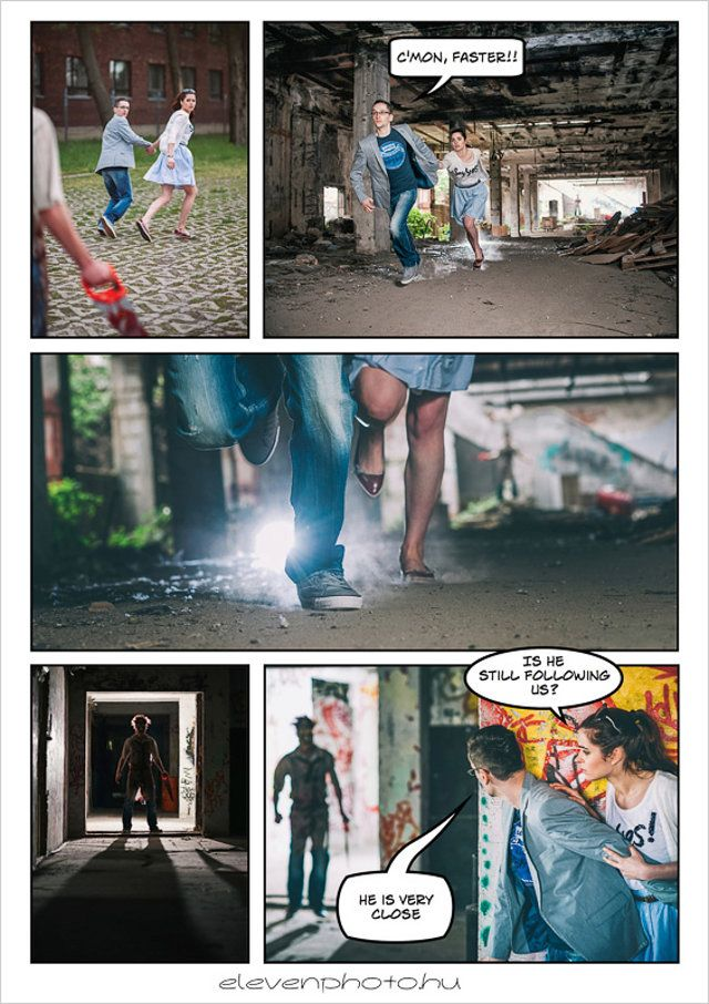 Best idea ever! Comic book themed engagement photo shoot.