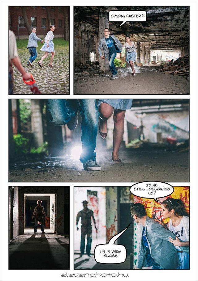 Best idea ever! Comic book themed engagement photo shoot.
