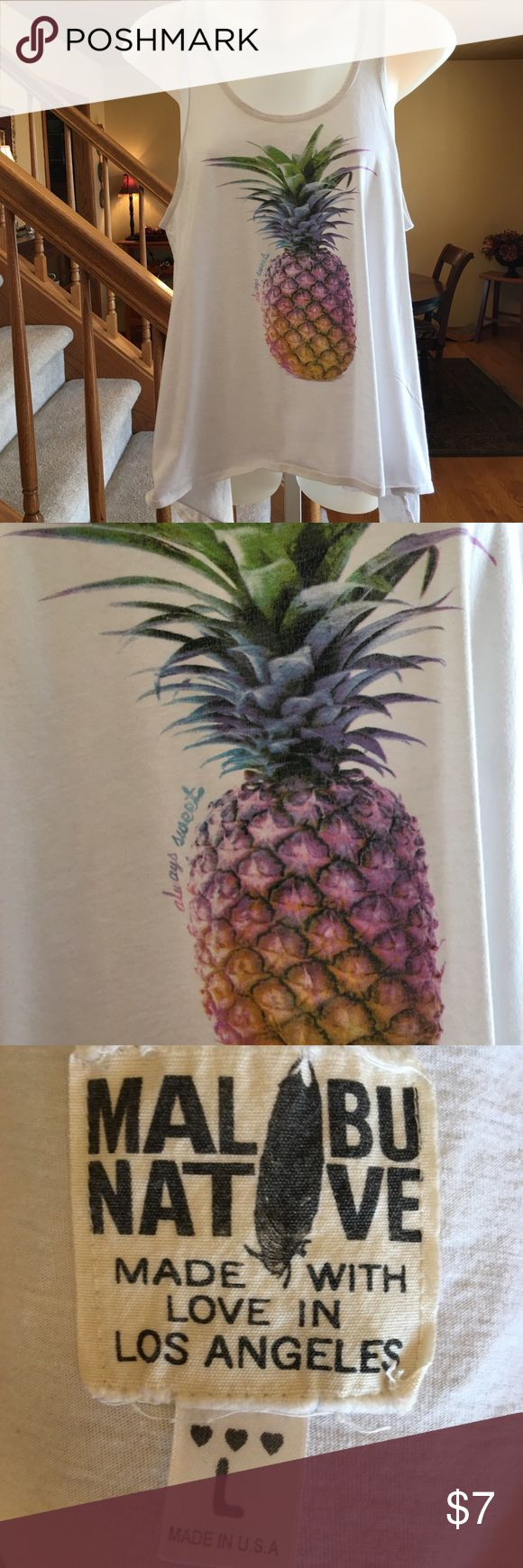 "Funky Pineapple Tank Top by MALIBU  L Great Breezy tank top by MALIBU Los Angeles in excellent used condition!  Sides longer than front and back. Purchased at Nordstrom.   Women's size Large Bust 38"".   From our clean smoke free home.   🐞Check out my other $7 Dollar or Less items to bundle and save even more!🌻 Malibu Tops Tank Tops"