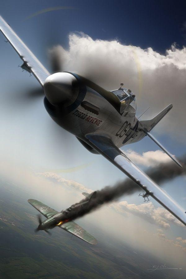 P 51 Mustang Aviation Art Wwii Pinte