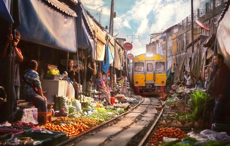 The Maeklong Market in Bangkok has stalls right along the railway tracks. (Don't worry the train doesn't run anymore!)