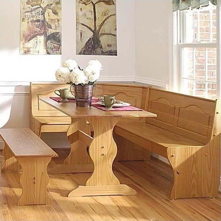 Breakfast Kitchen Nook 3 Piece Corner Dining Set Unit Pine Wooden Furniture  New #Linon