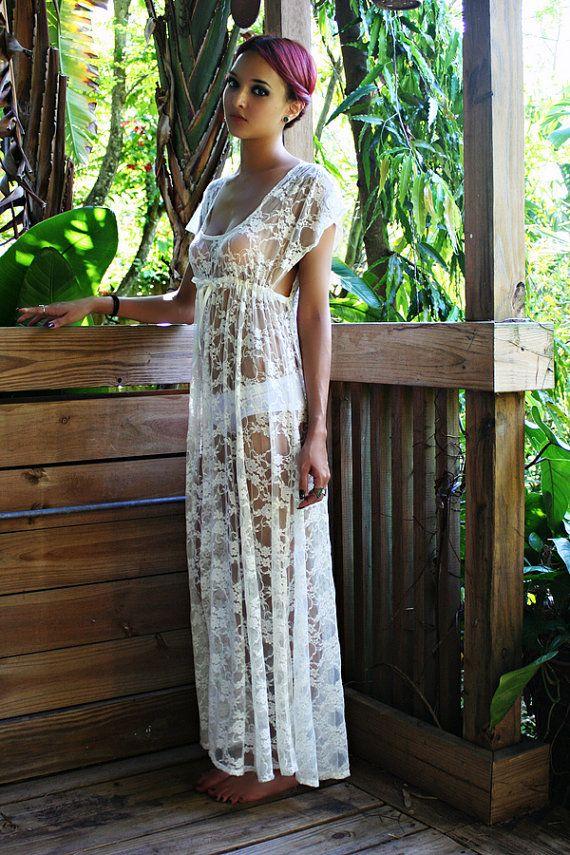 Sheer Lace Bridal Nightgown Lingerie Wedding Trousseau Ivory Lace White Lace Empire Bodice Honeymoon Sleepwear