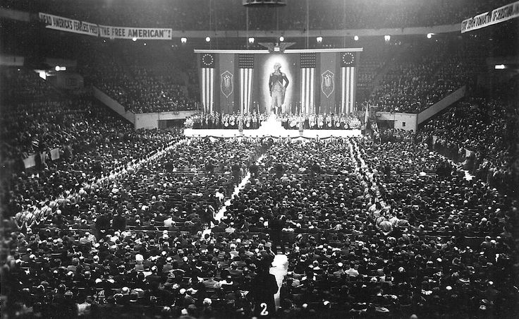 A lesser known piece of American history, a massive party rally of the German-American Bund held in New York City. The German-American Bund was a pre-war political organization based in the United States which sought to lead the United States under a Fascist government as well as strengthen American ties to the New Germany. It grew a substantial support base but proved incompatible with U.S. society.