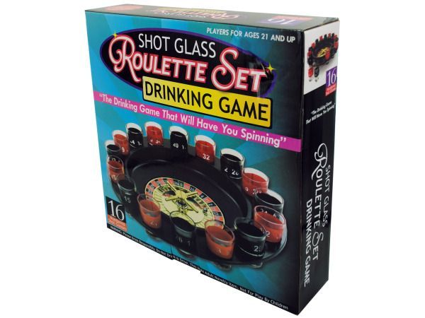 "Roulette Drinking Game, 1 - Add fun to a birthday, bachelor or frat party with this fun Roulette Drinking Game. It's a game for those who are ready to have fun with their alcohol. Includes a roulette wheel, 16 numbered shot glasses and 2 metal balls. Pick your numbers and get ready to do some drinking! Comes packaged in an individual box. Box measures approximately 11.75"" x 3"" x 11.625"".-Colors: transparent,black,red. Material: glass,metal,plastic. Weight: 3.8333/unit"