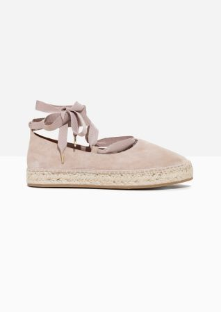 & Other Stories | Suede Ribbon Lace-Up Espadrilles