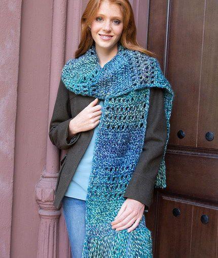 Big Blue Crochet Scarf | AllFreeCrochet.com