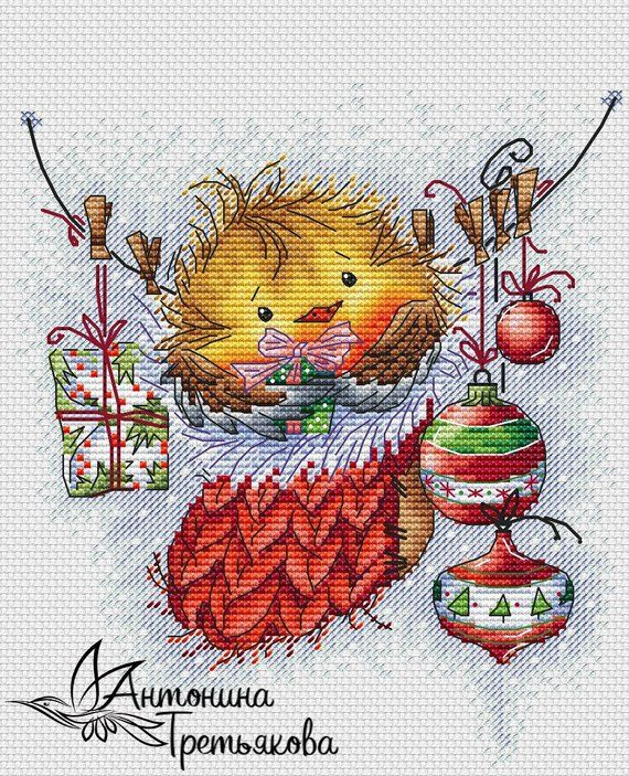 Bird Cross Stitch Pattern PDF Instant Download Christmas Cross Stitch Cute Cross Stitch Sock Cross Stitch Winter Cross Stitch Bright Cross