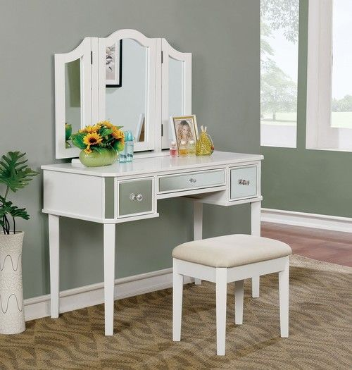 3 PC Furniture Of America Clarisse White Vanity Set CM DK6148WH