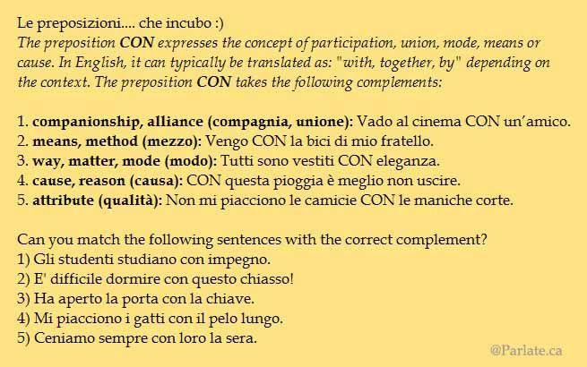 """La preposizione """"con"""" – The preposition """"con"""""""