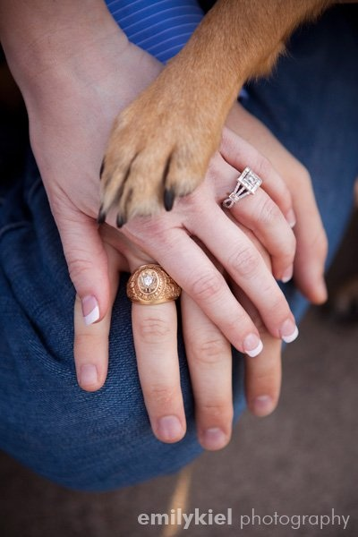 Love this idea for an engagement picture!! The dog is part of the family :)
