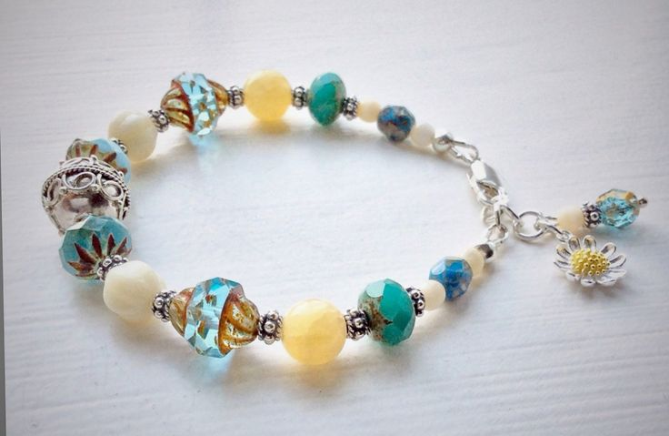 Sterling silver, glass and jade bracelet in blue and cream