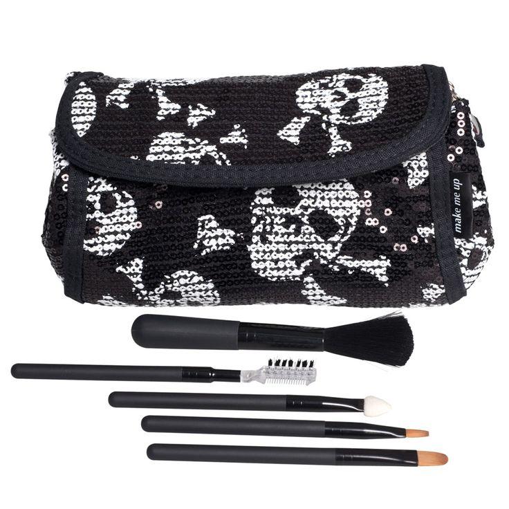 Make Me Up Sequin Skulls Makeup Purse and Brush Set   RRP $24.95   Stylish, Carry Anywhere Makeup Purse and Brush Set #Halloween