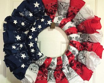 Patriotic Wreath by WreatherMadnessNV on Etsy