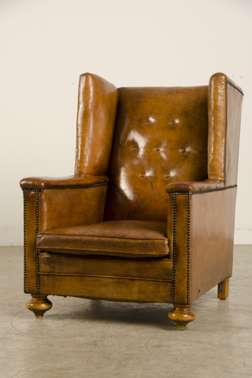an art deco period leather armchair from france c
