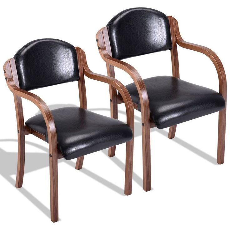 Set Of 2 Elegant Black Leather Dining Room Chairs Home Furniture Dining Chairs #SetOf2