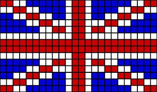 Pixelated union jack crochet blanket
