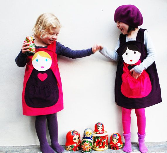 Girls Dress Russian Doll customised pinafore by wildthingsdresses, $62.00
