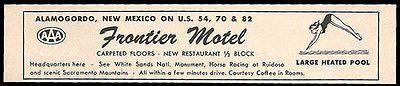 Frontier Motel Ad Alamogordo New Mexico 1964 Roadside Ad Heated Pool Travel