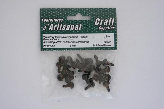 ZP220-33 Animal Eyes With Clutch 9 mm. Brown 12 Pieces