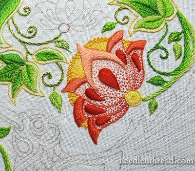 Secret Garden Embroidery Project: Large Flower Embroidered